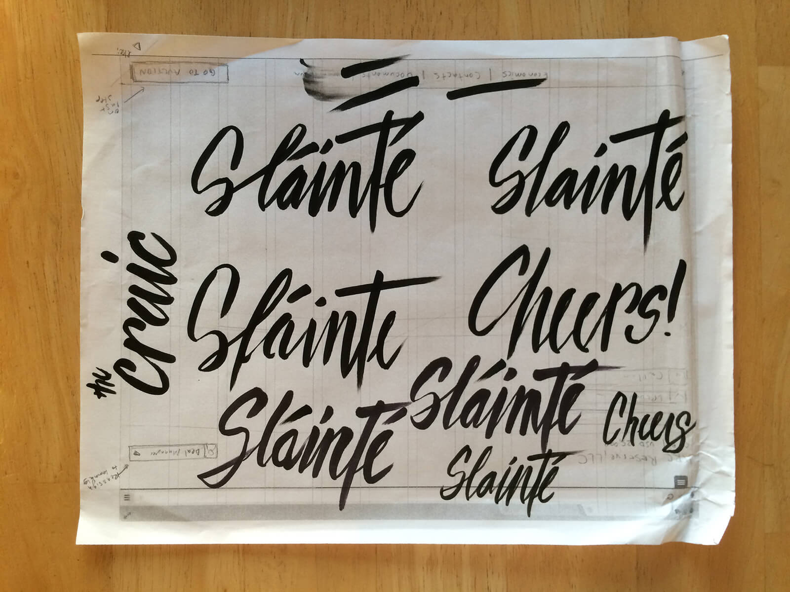 Slainte shirt original drawing